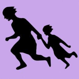 Flüchtende Mutter mit Kind